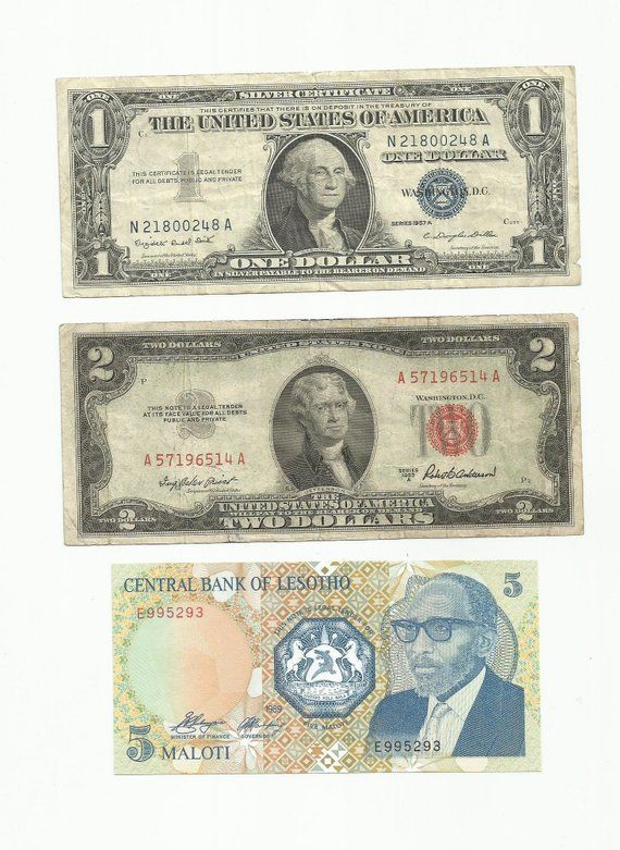 3 old banknote paper money currency collection with 1957 silver