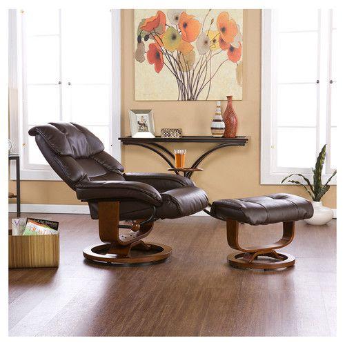 Wildon Home ® Dawn Leather Ergonomic Recliner And Ottoman