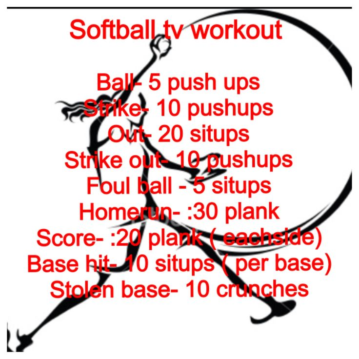 Softball workout for core and upper body i love this. i watch a lot of softball so now i can do it and workout too! :)