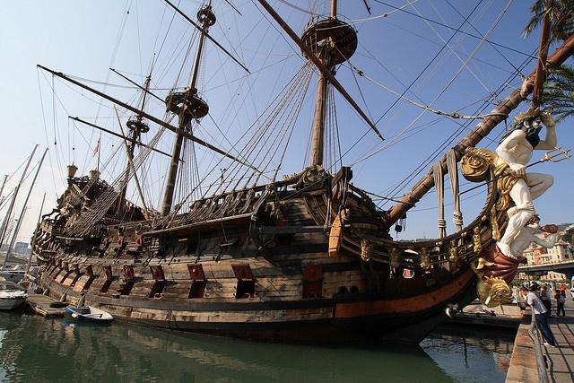 """""""A Pirate ship in the Porto Antico, Genova. It was used for a Roman Polanski film."""""""