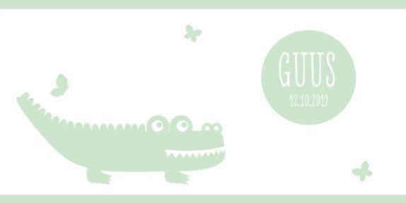 Geboortjekaartje jongen krokodil