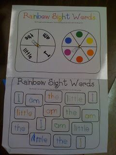Mrs. Lee's Kindergarten: All About Me Unit! Make this sight word activity with color spinning wheel and a wheel for sight words.