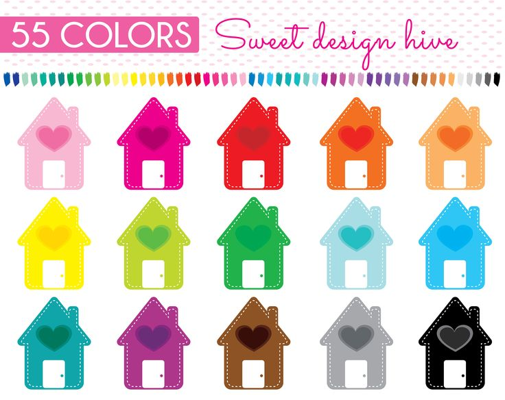 Heart House clipart, Heart Home clipart, Cottage Cabin Building, Home Label Banner, Planner Stickers, Commercial Use, PL0123 by Sweetdesignhive on Etsy