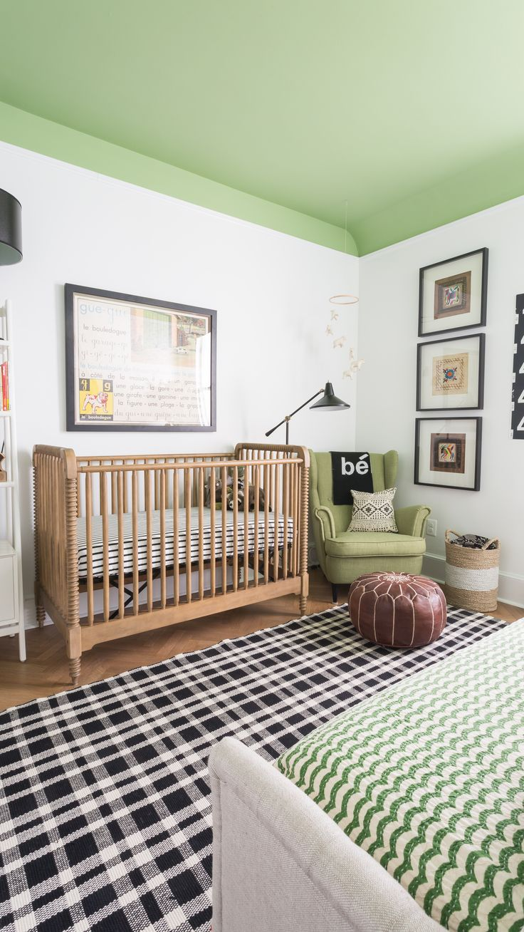 Project Nursery - Modern Black and White Nursery with Pops of Green
