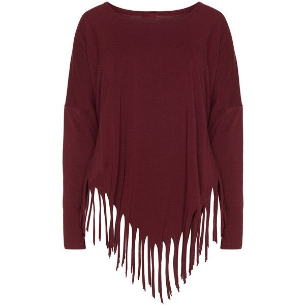Boris Bordeaux-Red Plus Size Cotton jersey fringed hem top ($85) ❤ liked on Polyvore featuring tops, plus size, women plus size tops, bordeaux top, long sleeve tops, long fringe top and oversized plus size tops