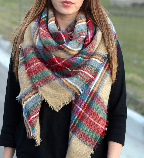 TARTAN BLANKET SCARF, Zara style, Plaid multi colored, Large Scarf, Fall Fashion Scarf $21.50