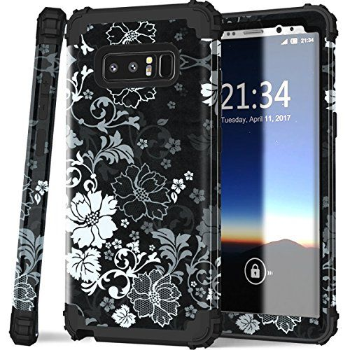 Galaxy Note 8 Case, Hocase Shockproof Heavy Duty Hybrid Silicone Rubber Bumper+Hard Shell Full Body Protective Phone Case w/ Classic Flower Print for Samsung Galaxy Note 8 (2017) - Black #Galaxy #Note #Case, #Hocase #Shockproof #Heavy #Duty #Hybrid #Silicone #Rubber #Bumper+Hard #Shell #Full #Body #Protective #Phone #Case #Classic #Flower #Print #Samsung #Black
