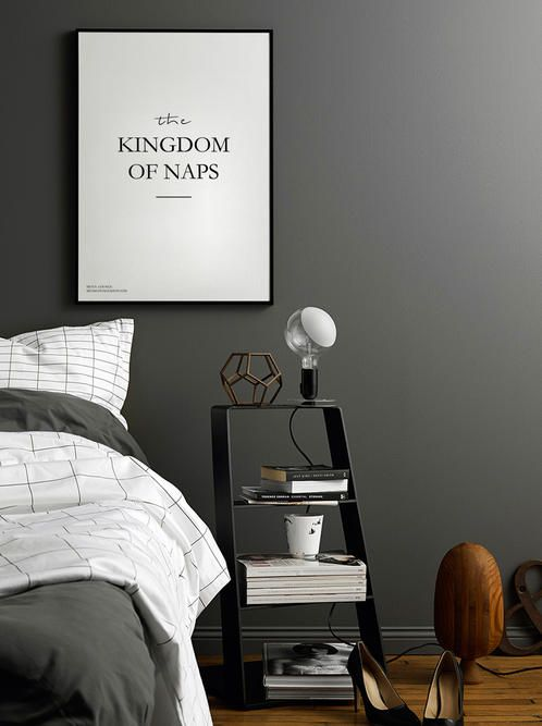 Our Men's Lounge Kingdom of Naps poster. Inspiration to design a peaceful bedroom.