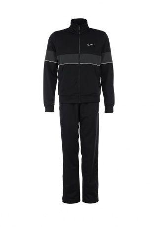 Мужской спортивный костюм черного цвета от Nike. Олимпийка и брюки прямого кроя. Модели выполнены из плотного трикотажа с мягкой ворсистой внутренней отделкой. Детали: воротник-стойка, застежка-молния, эластичные манжеты и нижняя часть, два кармана в олимпийке, три кармана в брюках, широкий эластичный пояс брюк на шнурке, молнии в нижней части брючин. Для размера 48/50 высота посадки брюк 31 см. http://j.mp/1rQlX1R