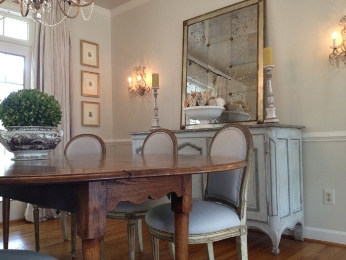 French Grey Chairs W Dk Wood Table Antiqued Mirror Buffet
