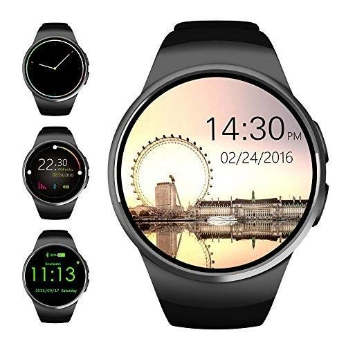 Bluetooth Smart WatchEvershop 1.3 inches IPS Round Touch Screen Water Resistant Smartwatch Phone with SIM Card SlotSleep MonitorHeart Rate Monitor and Pedometer for IOS and Android Device (Black)