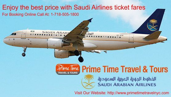 Enjoy the best prices with Saudi Airline ticket fare  Economical air travel coupled with quality service is preferred by numerous travelers. Saudi airlines offers both the facilities to its passengers. Tickets for traveling with Saudi airlines can be booked with convenience. The airline service offers discounts to passengers for numerous destinations. The travelers can effectively travel with Saudi airline at low fares.  http://www.primetimetravelnyc.com/saudi-airline-ticket-fare/