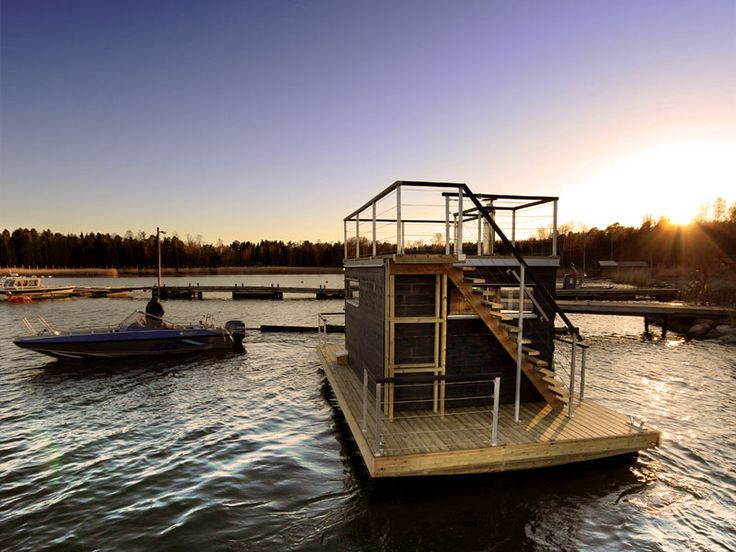 Love the upper deck on this floating sauna.