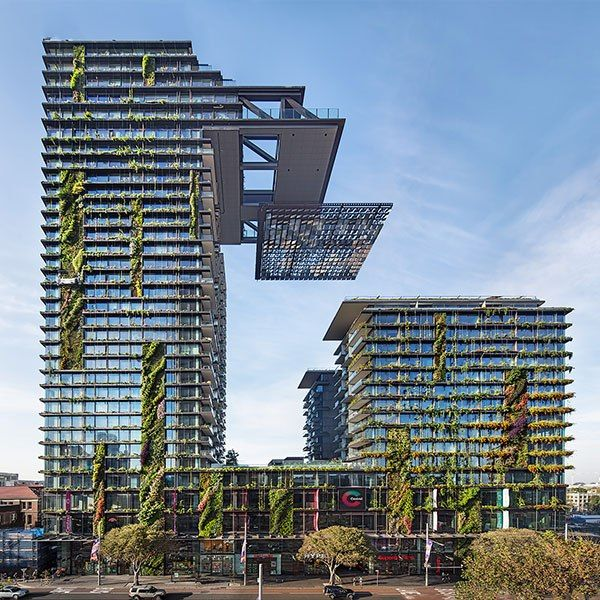 Lush living walls—created by botanist Patrick Blanc—grace the façade of this offbeat residential complex in Sydney, designed by Paris-based Ateliers Jean Nouvel