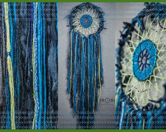 dreamcatcher wallhanging psy trippy trip psytrance symetry fractal circle green shamanic wall hanging dream catcher acid cosmic turquoise