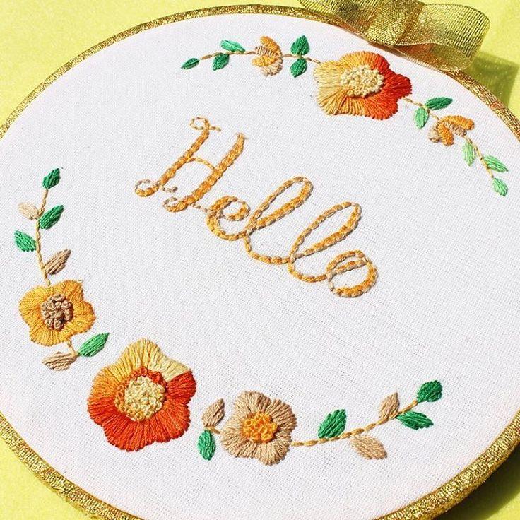 Hello hoop art_hand embroidery