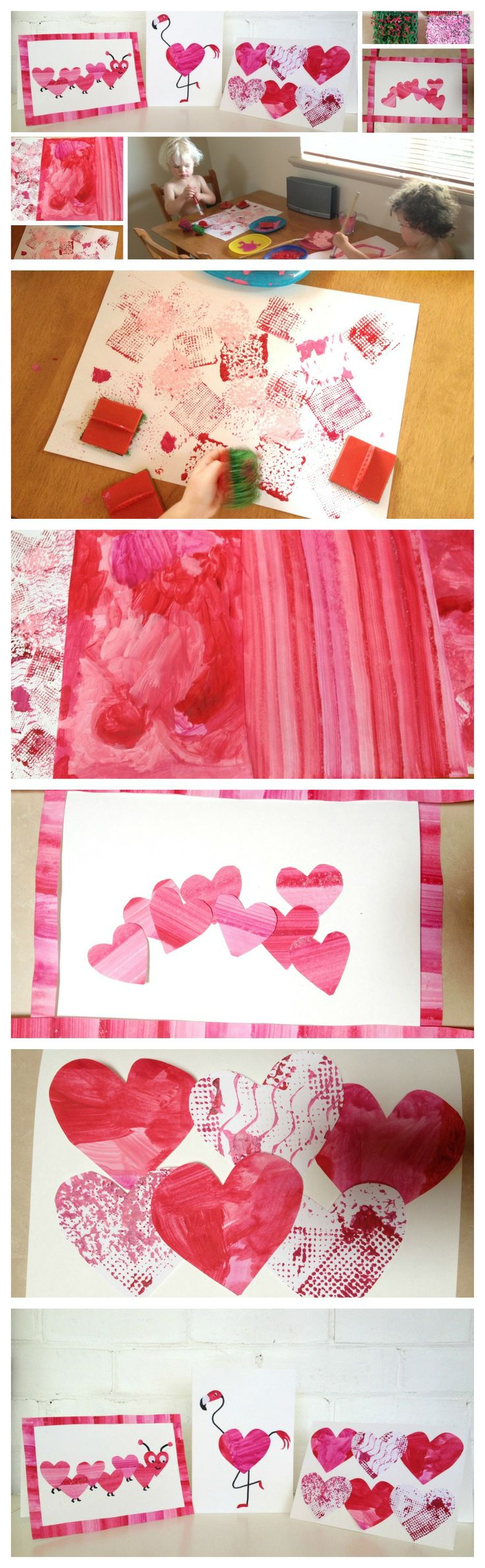Sarah Tamblyn Designs - Valentines Day Card Craft. Fun and simple DIY Valentines Day cards. Cut up your paintings to create a card made with love!