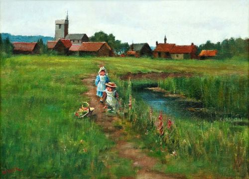 Playing Children On A Summer Field - Maria Wiik (1853 – 1928, Finnish)