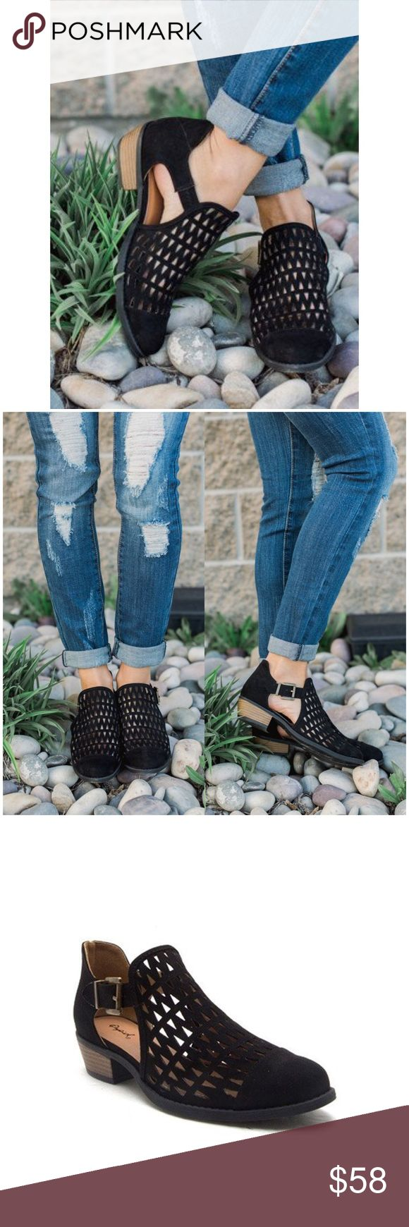 """🌸CLEARANCE🌸Tobin Black Triangle Cut Out Booties Booties are the new tennis shoes! Made for every day comfort, Tobin is a low heel bootie with a triangle cut-out pattern and buckle closure. style these delightful ankle boots with boyfriend cut jeans or a dress. you will be comfortable for your every day run around.  faux suede bootie with triangle mesh pattern on the upper. buckle closure on the outside ankle. material: man made heel height: 1"""" Boutique Shoes Ankle Boots & Booties"""