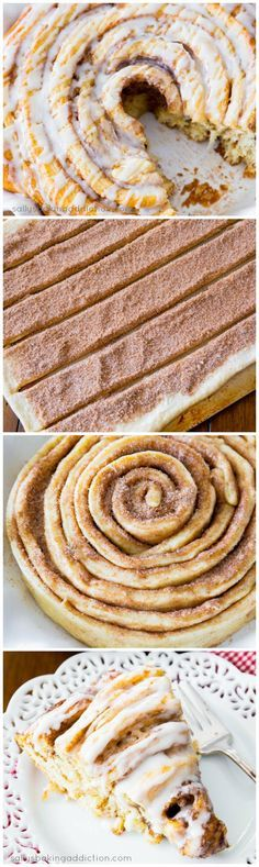 Learn how to make a Giant Cinnamon Roll Cake. Love this huge cinnamon roll! @Sally McWilliam McWilliam McWilliam [Sally's Baking Addiction]
