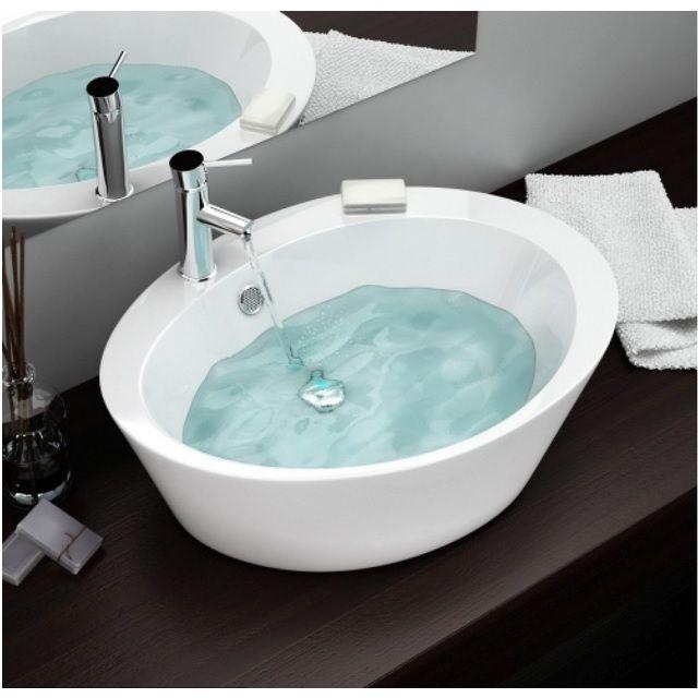 Lavabo da appoggio ovale a base alta 60x47x15 in ceramica bianco modello adria, miscelatore escluso