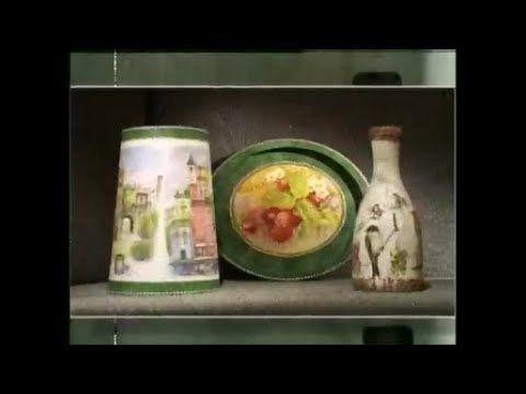 Декупаж. Декорируем абажур, поднос и бутылку используя рисовую бумагу. М...