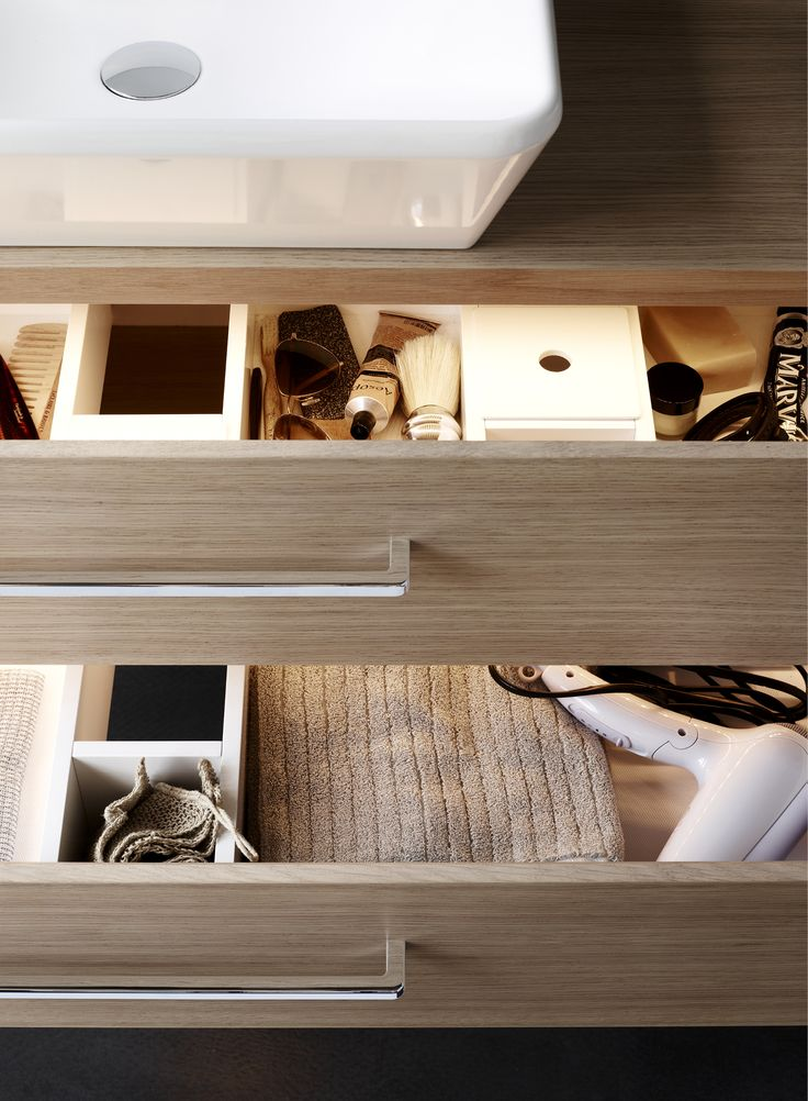 Interior organisation and lighting for drawers.