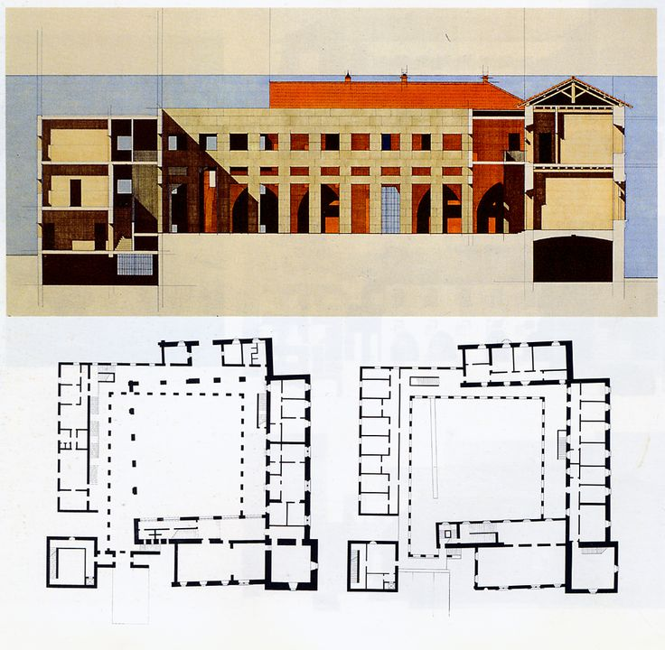 Giorgio Grassi: Restoration of a 13c Monastery (1970). Plans and section