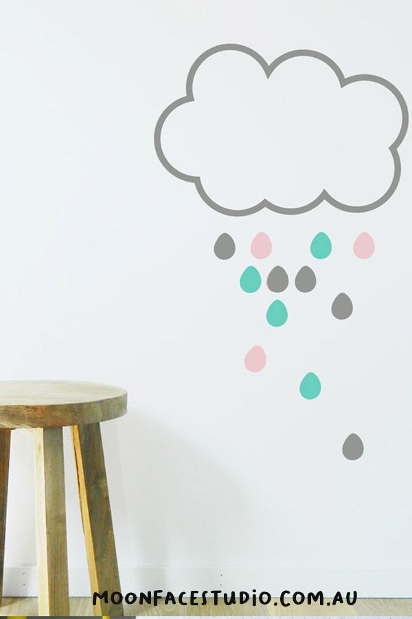 These very cute cloud wall decals look great in either a baby boys or baby girls bedroom. They come with different coloured rain drops and cloud colours ideal for a gender neutral nursery. #nurserydecor #clouds #wallsticker