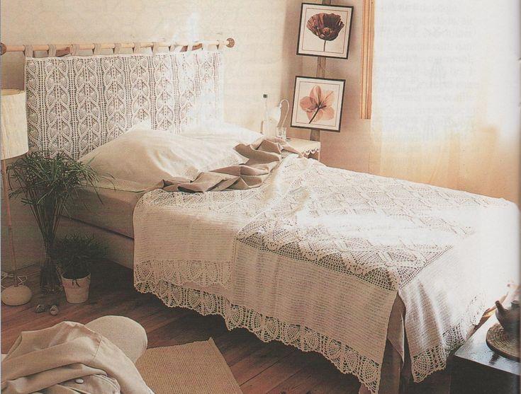 Voici un modèle que j'aime beaucoup, mais que je n'ai pas fait car je dispose d'une tête de lit en bois. Je le trouve raffiné et élégant, tout en étant moderne avec sa têtière assortie au dessus de lit. Voilà de quoi occuper vos soirées d'été (si on en...
