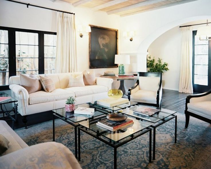 Living Room Four Clear Square Glass Tables Form A Coffee Table White Sofa Round Side