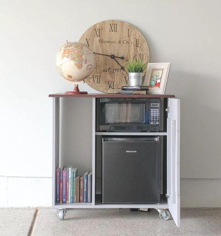 Diy Mini Refrigerator Storage Cabinet, Mini Fridge Cabinet For Dorm Room