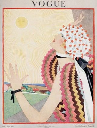 Vintage Vogue cover. Maybe the cape is based on a Sonia Delaunay model, the pattern is very similar to her work