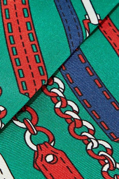 Gucci - Printed Silk-twill Scarf - Forest green - one size