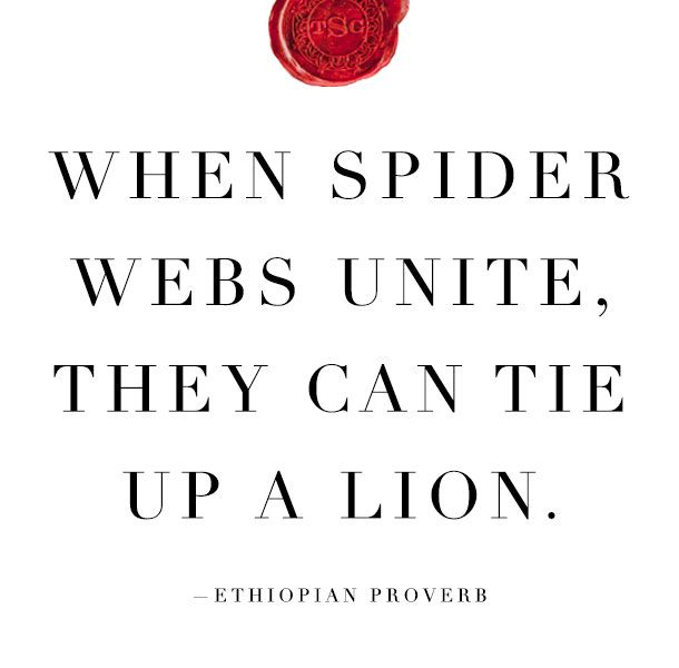 When spider webs unite, they can tie up a lion. Great quote that illustrates the power of uniting and the power it has.