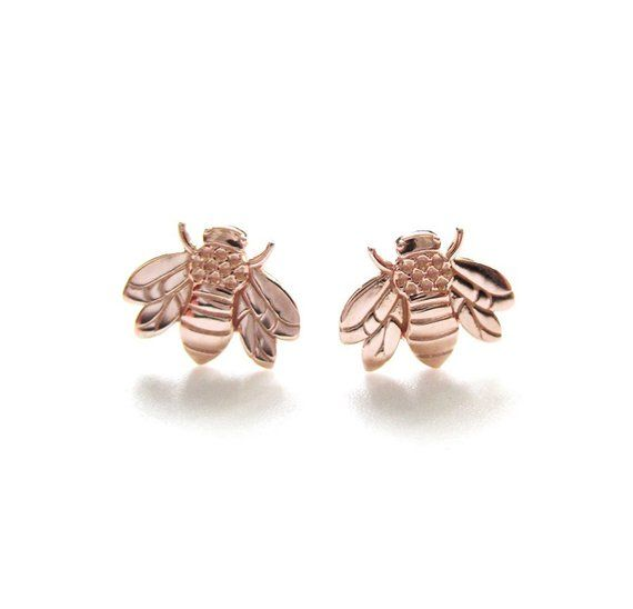 405f90f3c Honey Bee Earrings Solid 14K Rose Gold Tiny Honeybee Bumble Bee Stud  Earrings Solid Gold Bee Studs
