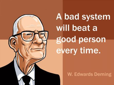 Quote W. Edwards Deming 'A bad system will beat a good person every time.'