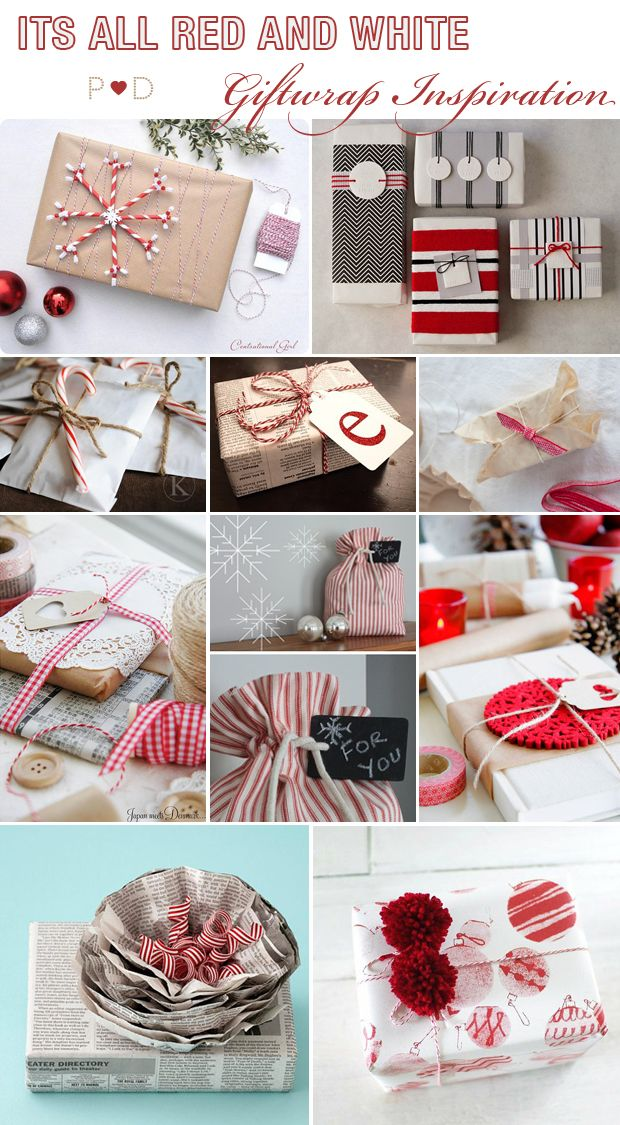 A Crafted Christmas: {Ideas for DIY Giftwrapping No 2} by Pocketful of Dreams    Brown Paper, Brown Paper Packaging, Christmas Giftwrapping, Giftwrap Ideas, Giftwrap Inspiration, inspiration, Moodboard, Red and White, Styling, Wrapping presents
