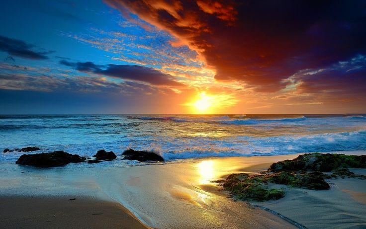 Beach Sunset Landscapes | Beautiful Sunset On Beach Landscape Wallpaper HD