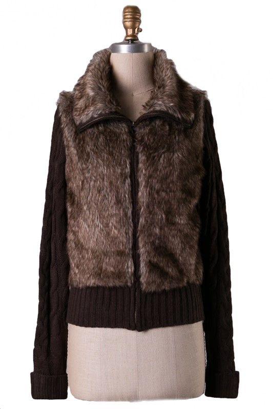 Dakota Faux Fur Zip Up Sweater - Brown