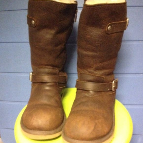 Children's UGG boots. Distressed leather UGG boots with side buckles. Mid-calf heights. UGG Shoes