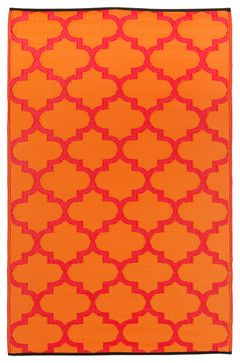 Prater Mills Indoor/Outdoor Reversible Orange/Red Rug mediterranean outdoor rugs