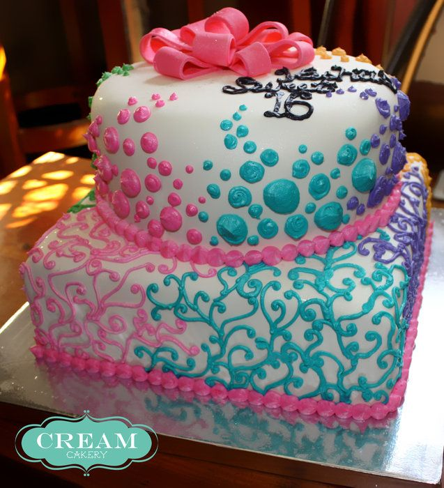 Colorful Teen Birthday Cakes | Sweet 16 - by CreamCakery @ CakesDecor.com - cake decorating website