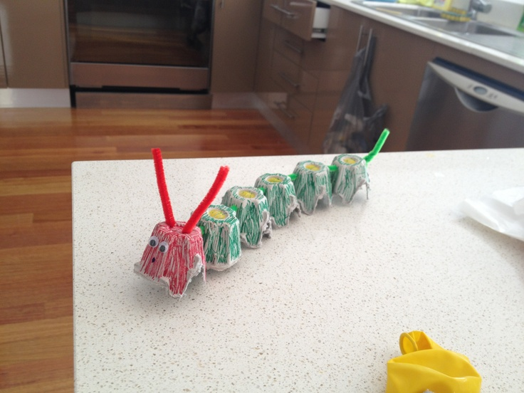 The very hungry caterpillar - from an egg carton.