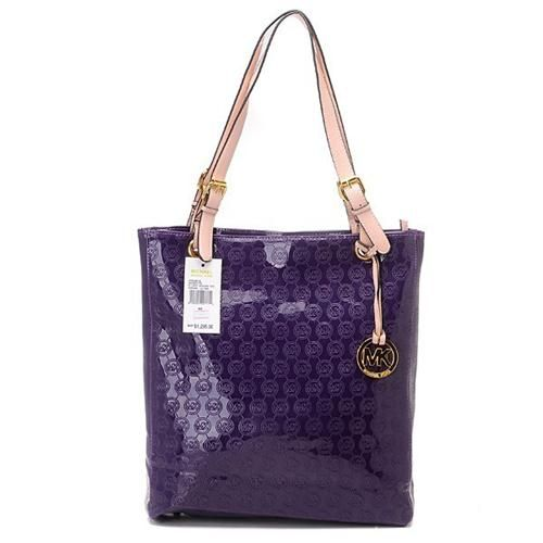 Michael Kors Monogram Mirror Metallic Large Purple Totes Are High Quality And Cheap Price!