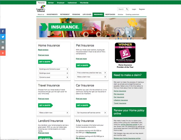 Legal General Insurance Home Page Featuring Their Mfcawards