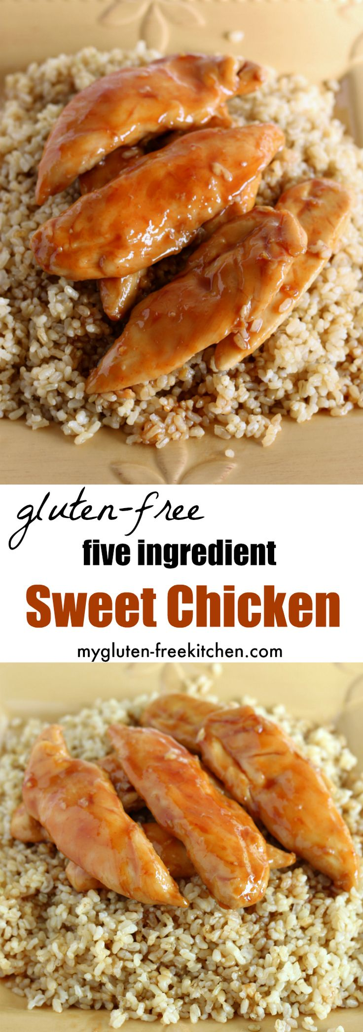 Gluten-free Sweet Chicken Recipe. Just five ingredients for this hearty meal. I like to serve over brown rice.