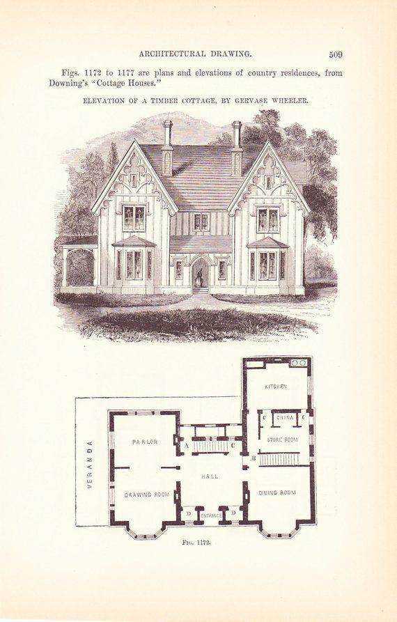 1889 Architecture Print House Blueprint Vintage Antique Art Illustration Interior Design Great F Te Architectural Prints House Blueprints Architecture Old