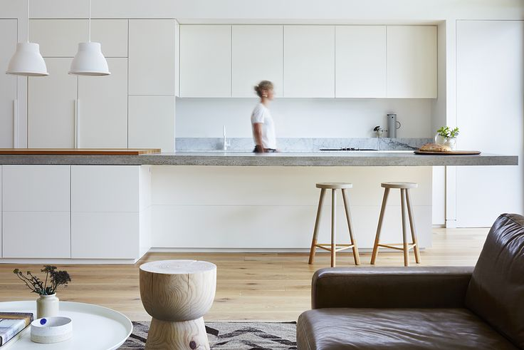 modern interior   white kitchen   cement counter   bench top   young family home   open-plan   west coast   Pipkorn & Kilpatrick Interior Architecture and design   Brighton house