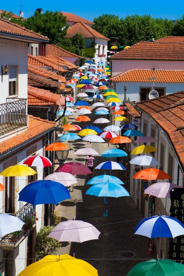 Umbrellas at Rua Queirós Ribeiro in Vila Nova de Cerveira, Portugal